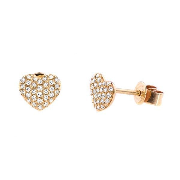 Fine Pave Set Diamond Heart Stud Earrings 14k Yellow Gold