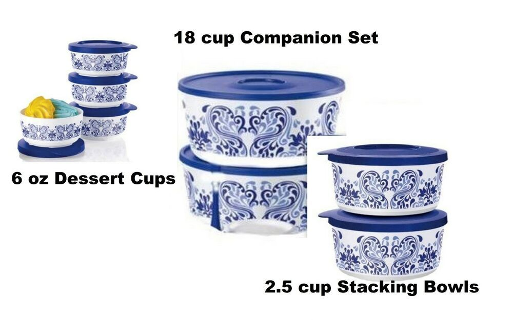 Tupperware Canisters Set of 2 Vineyard 2.5 Cup Stacking Containers