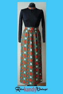 Late 60s/ Early 70s Vintage Printed Maxi Dress