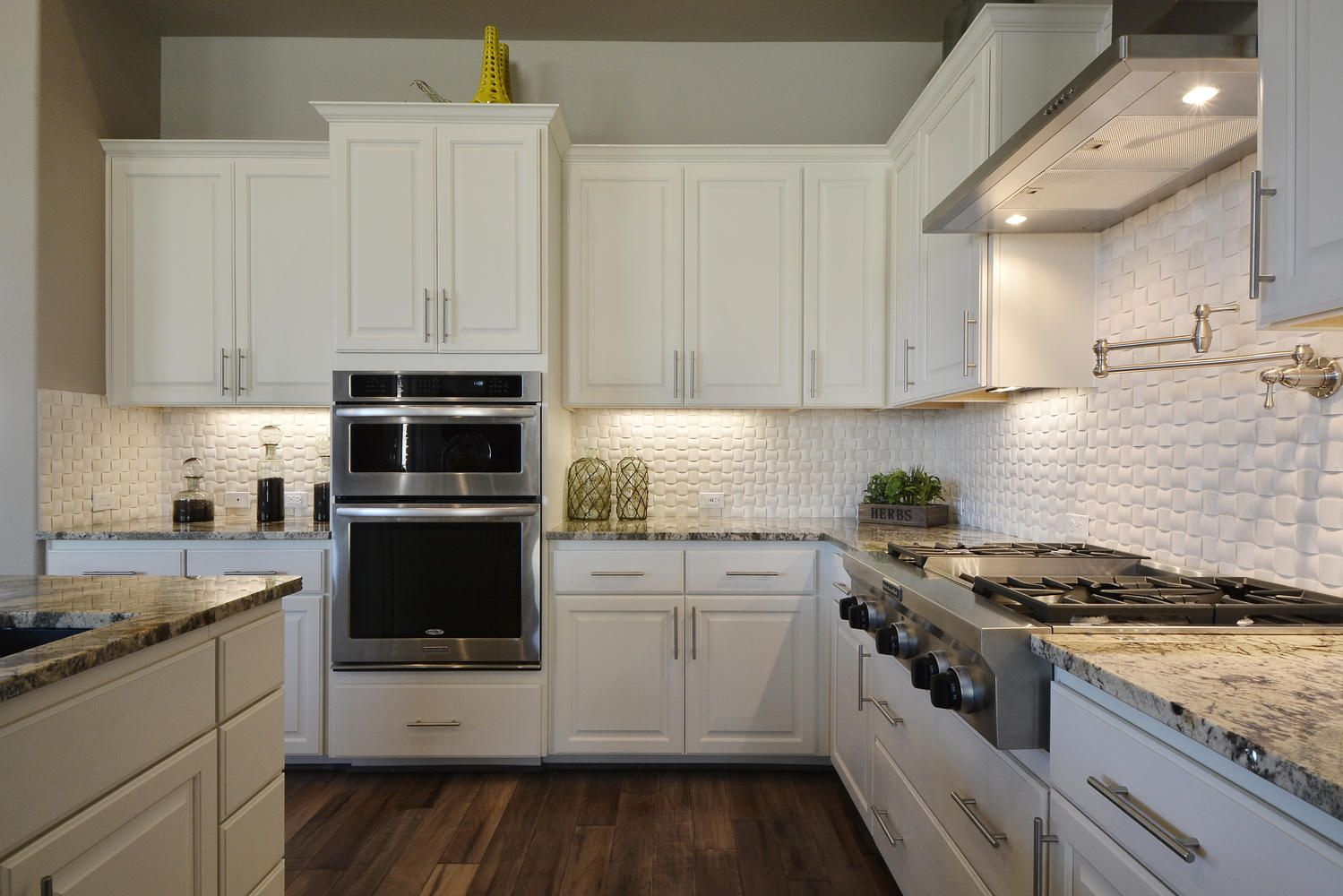 subway tiles kitchen. gray recessed panel cabinets white subway