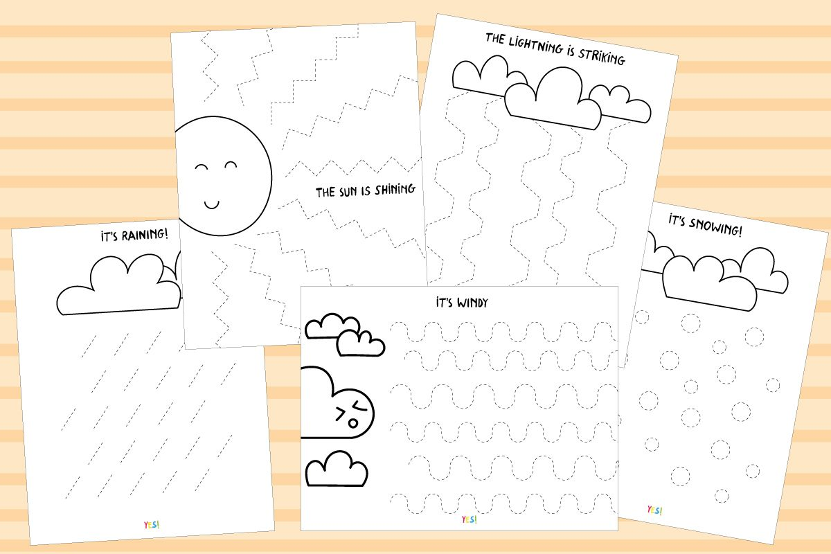 Preschool Line Tracing Worksheets The Weather
