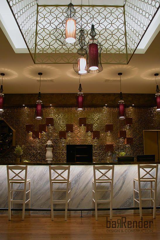 Bar counter front - Custom-made chandelier: laser-cut pattern ...