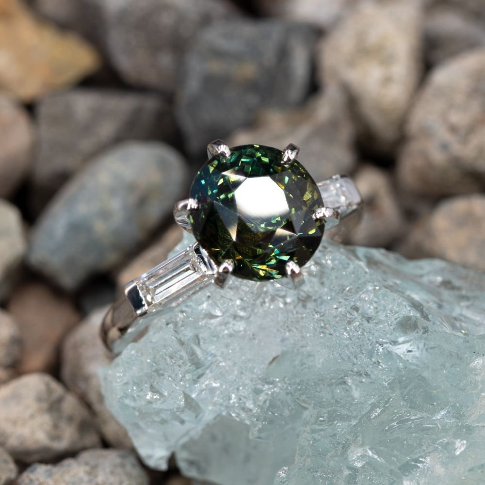 5.9 Carat Rich Teal Sapphire Engagement Ring w/ Baguette