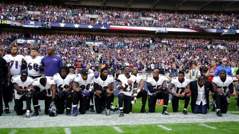 Ravens Jaguars Players Kneel During National Anthem After Trump S Attacks On Nfl Fox News Nfl Players Kneeling Anthem Protest Nfl Stadiums
