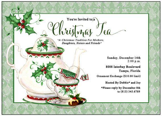 Holiday Tea Invitation Christmas Tea By Adorableinvitations