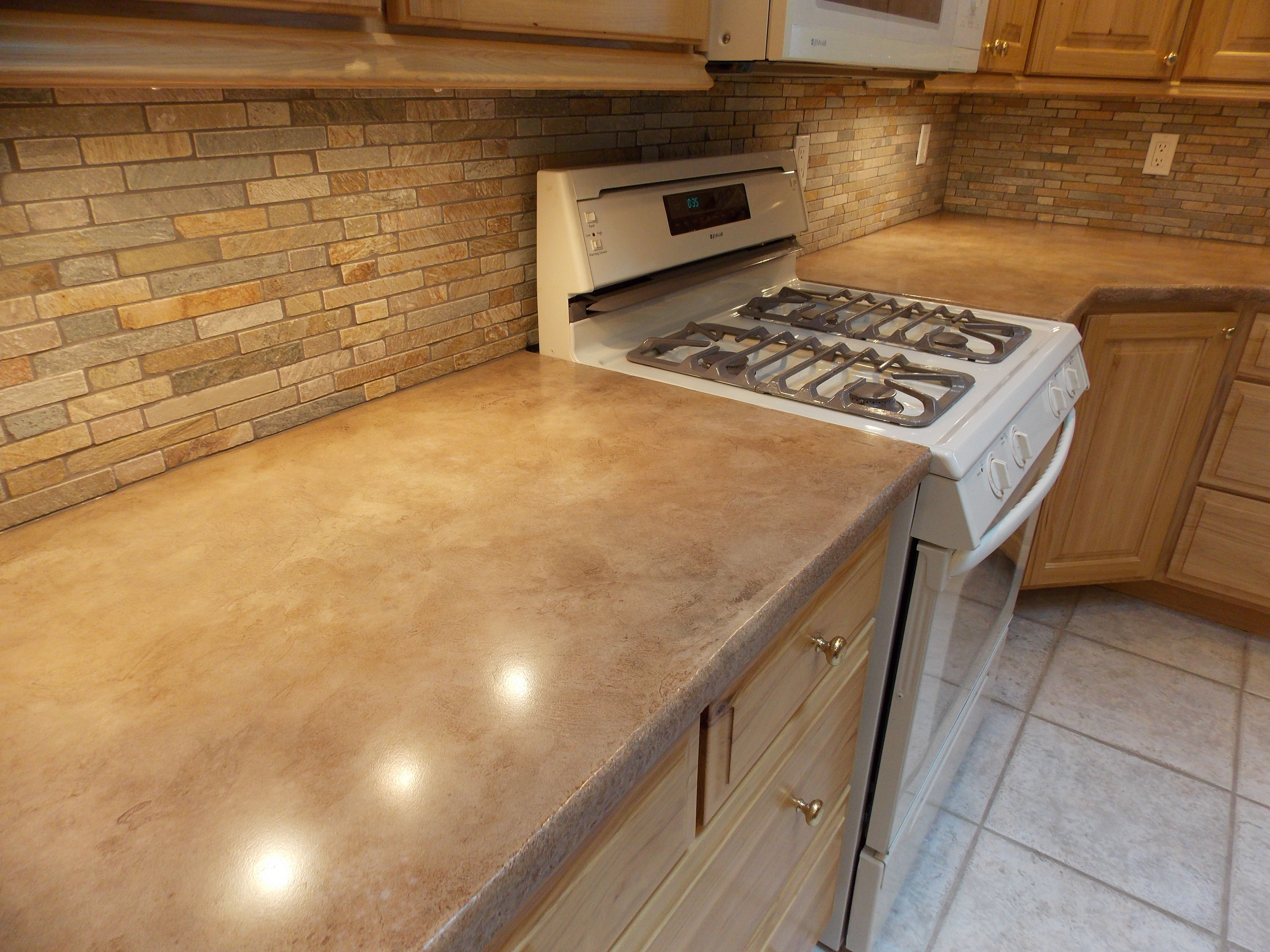 Concrete Kitchen Countertops Marble Table Overlay Counters And Tile Backsplash Rapid City Sd