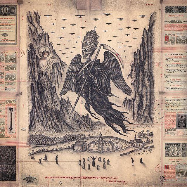SnapWidget | Paradise Lost - Book ii #Graphite and crimson #pencil on #paper 19th Latin Missal #johnmilton #epic #poem #B17 #christ #ufo