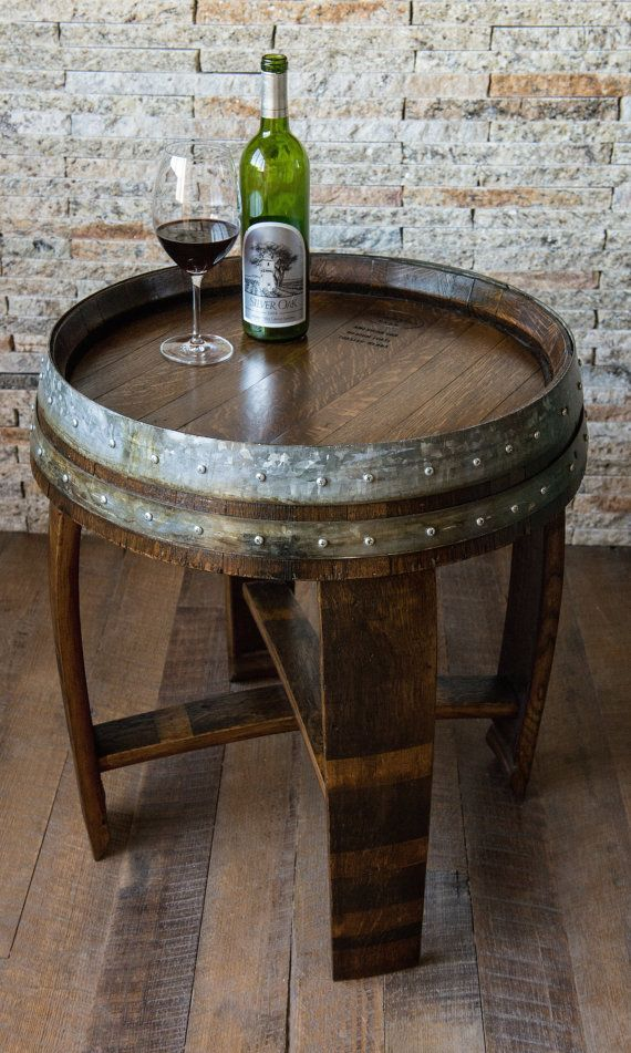 Dark Walnut Stained Wine Barrel End Table With Cross Braces Wine Barrel End Table Wine Barrel Furniture Wine Barrel Table