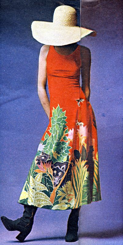 Silk dress by Lyn and Mary from Deborah and Clare. Hat and boots by Biba. - 1970