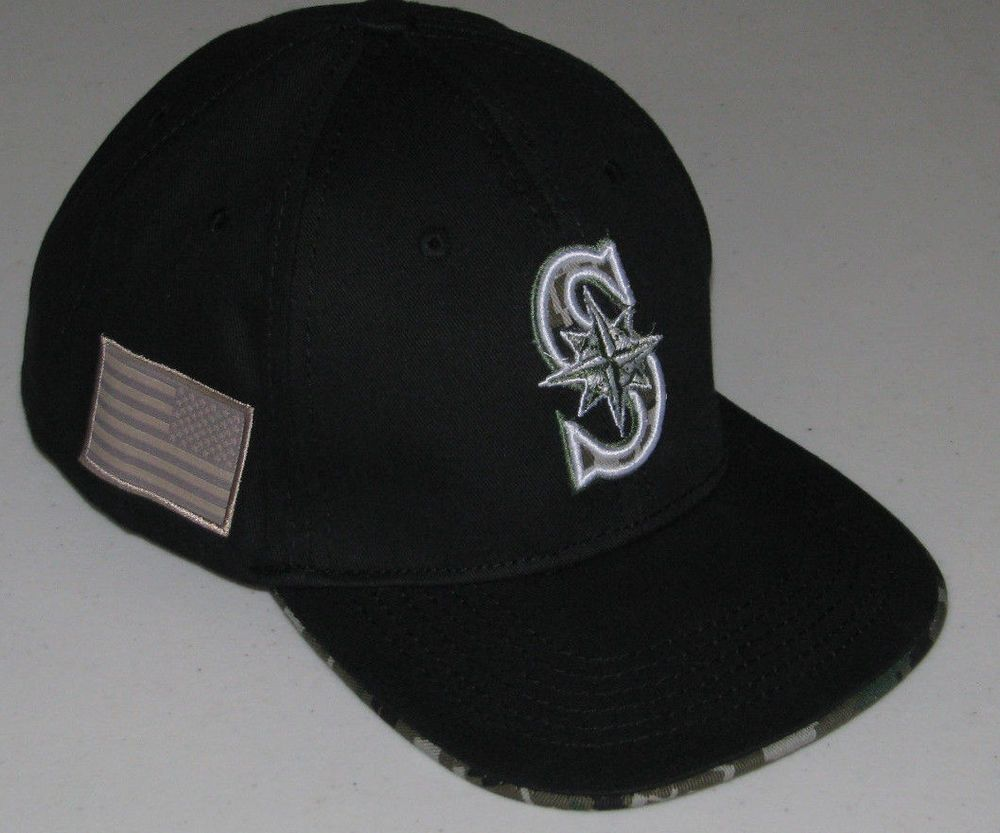 14ead101b85 MLB Seattle Mariners US Flag Military Camo Hat Baseball Cap Embroidered  Boeing  SeattleMariners