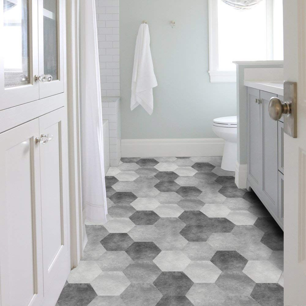 Vancore Floor Tile Stickers Wall Sticker Hexagon Backsplash Waterproof Peel And Stick Decor Grey Bathroom Floor Waterproof Bathroom Flooring Bathroom Flooring