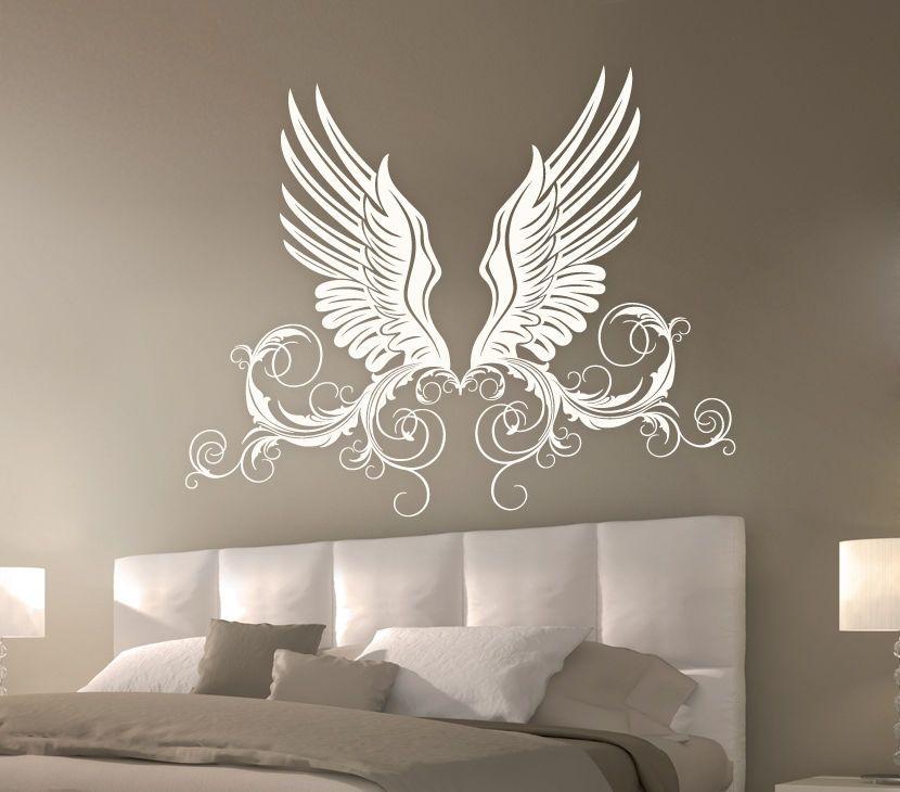 Wandtattoo engel flügel ranke w972 wand deko schlafzimmer wandaufkleber in wandtattoos wandbilder ebay