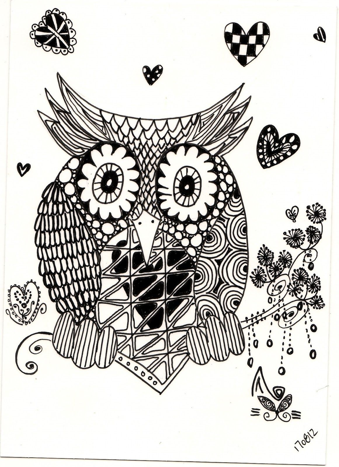 zentagle drawing: Zentangle - Owl | Owl coloring pages ...