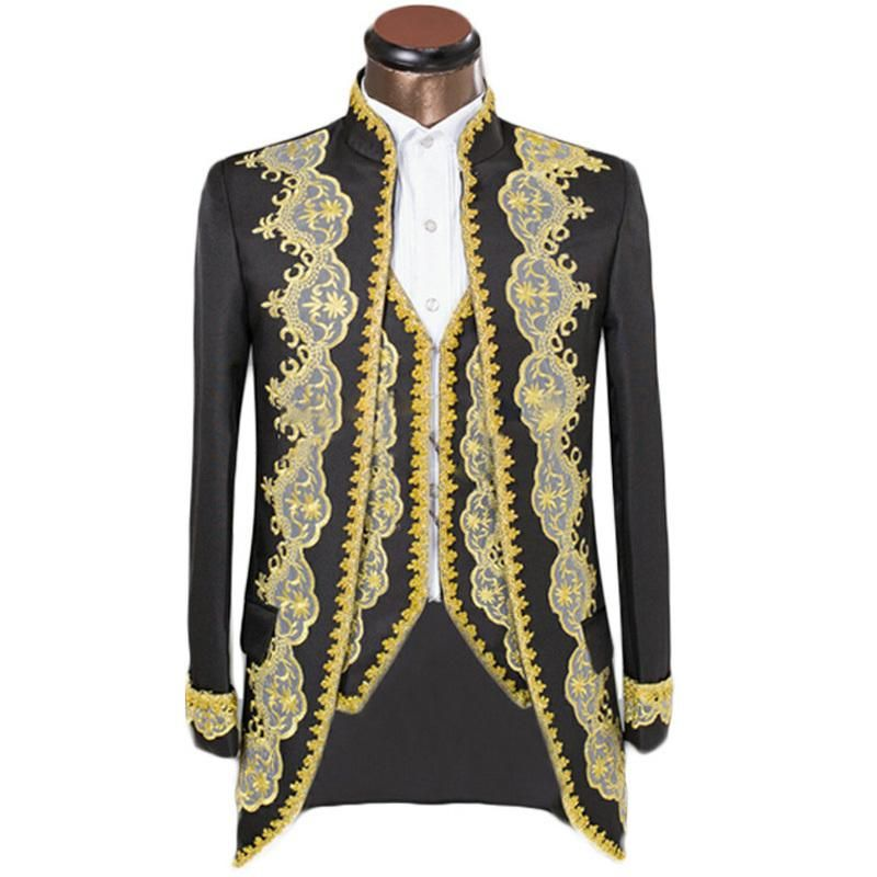 Custom Men Suits Luxury Embroidery Royal Golden Edge Mens Slim Prom ...