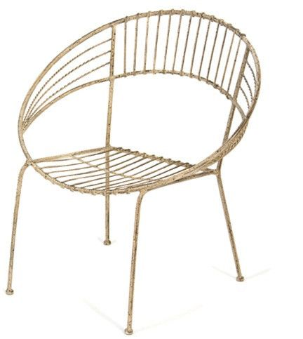 Round Metal Chair In Ivory Design By Skalny White Metal Chairs