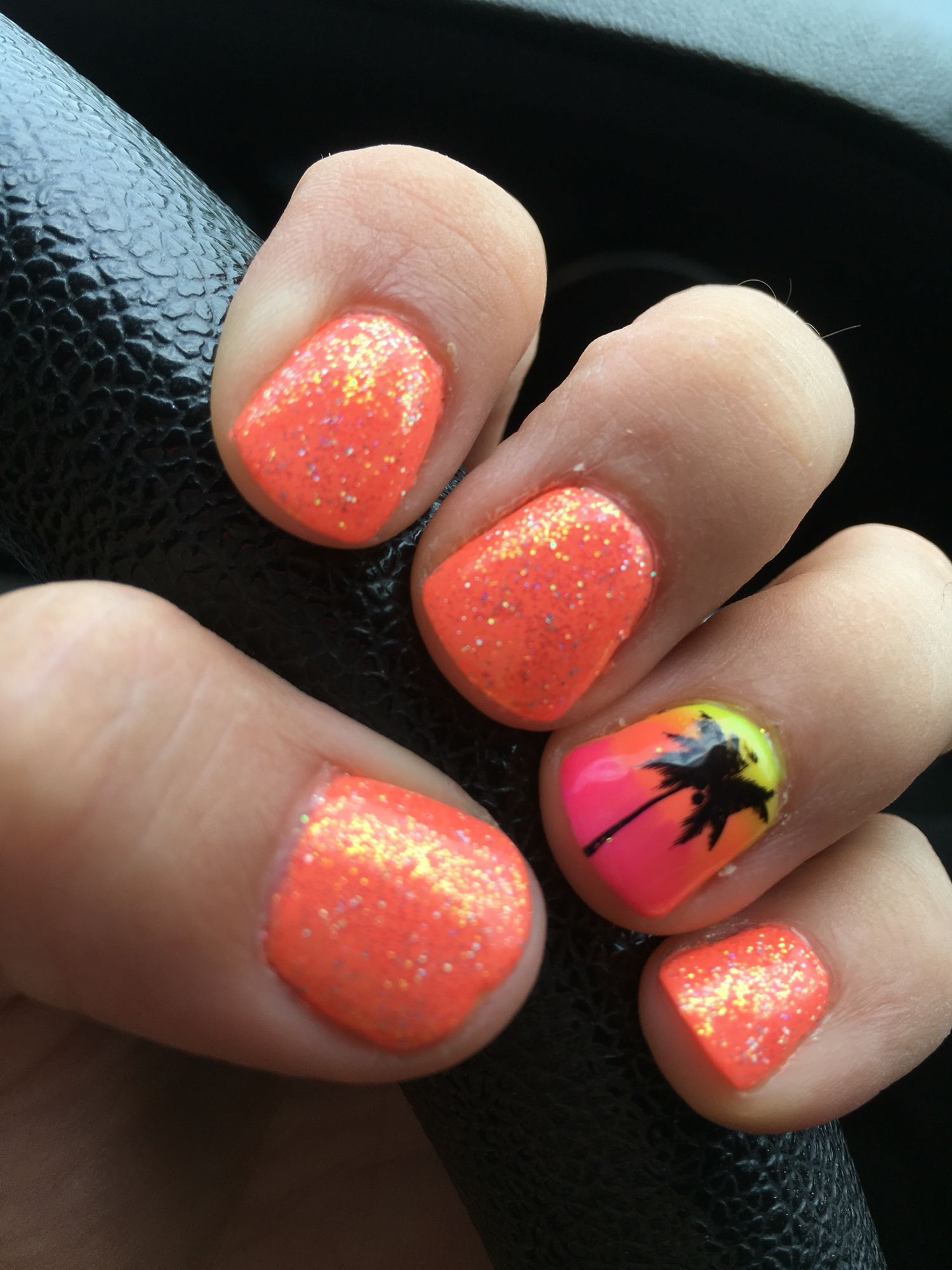 Gel nails, neon peach, palm tree, glitter, ombré   Nails N ...