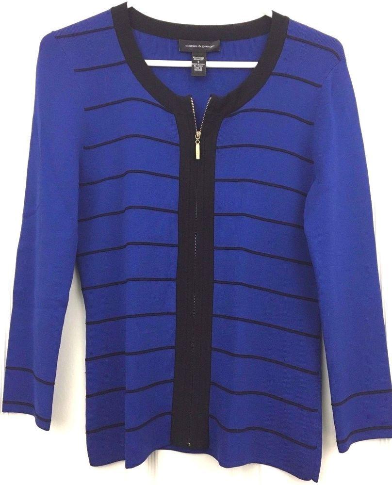Cable Gauge Cardigan Sweater Top Zip Front Career Dressy Royal ...