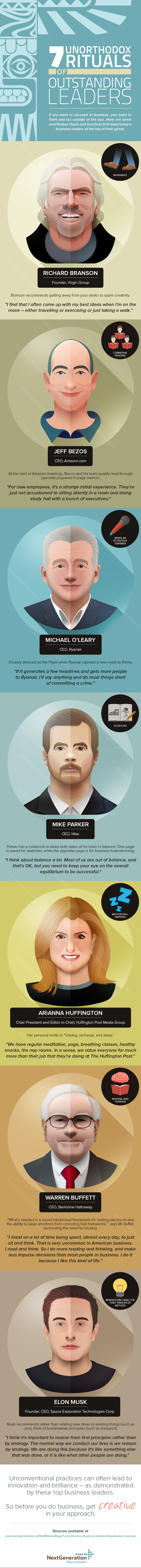 The Offbeat Habits of 15 Famous Leaders Infographic   Business ...