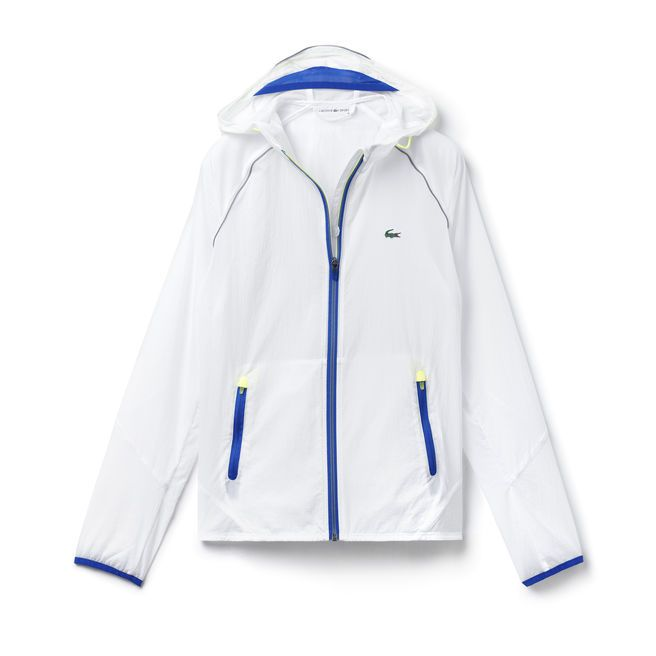 Contrasting Accents In Tennis Jacket Resistant Lacoste Water Canvas Sport Hooded With wqCx7z