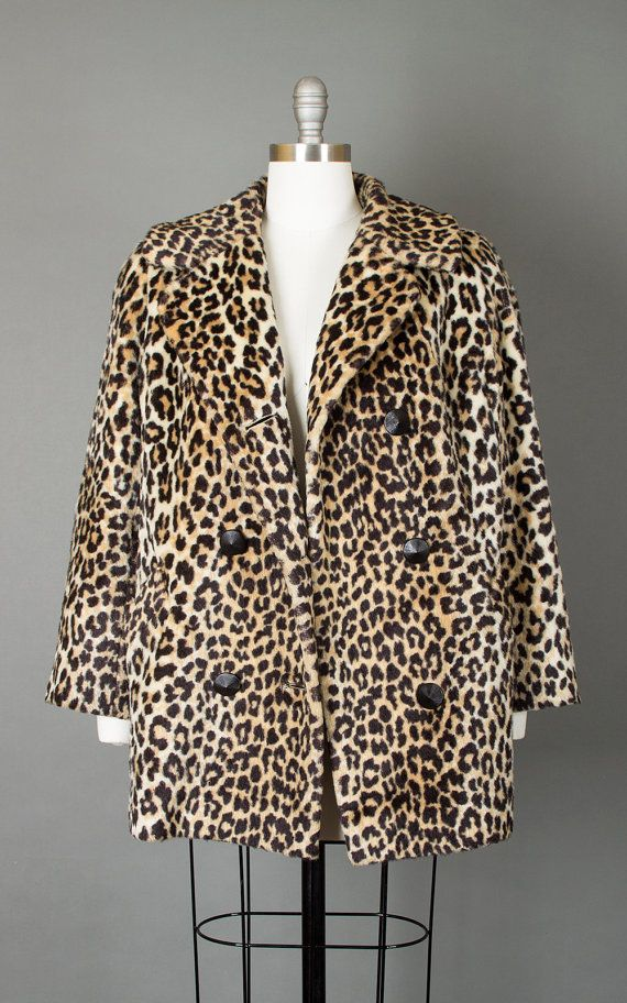 675b26eeaadb Vintage 60s Leopard Print Faux Fur Pea Coat | 1960s Animal Print Double  Breasted Short Mod Jacket (medium/large)