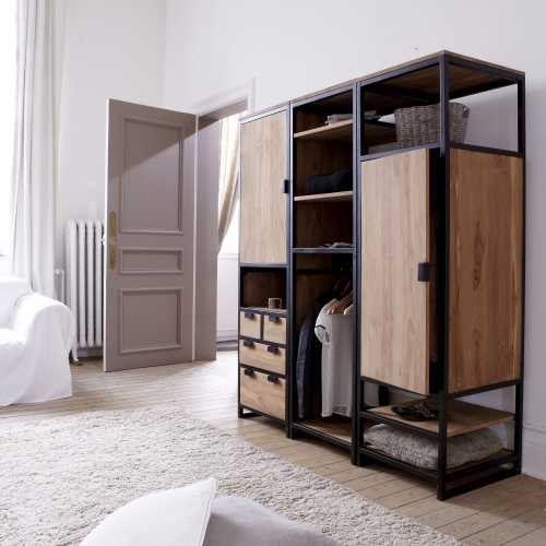 Solid Teak And Metal Wardrobe Unit 3 Shelf 1 Cupboard Industrial
