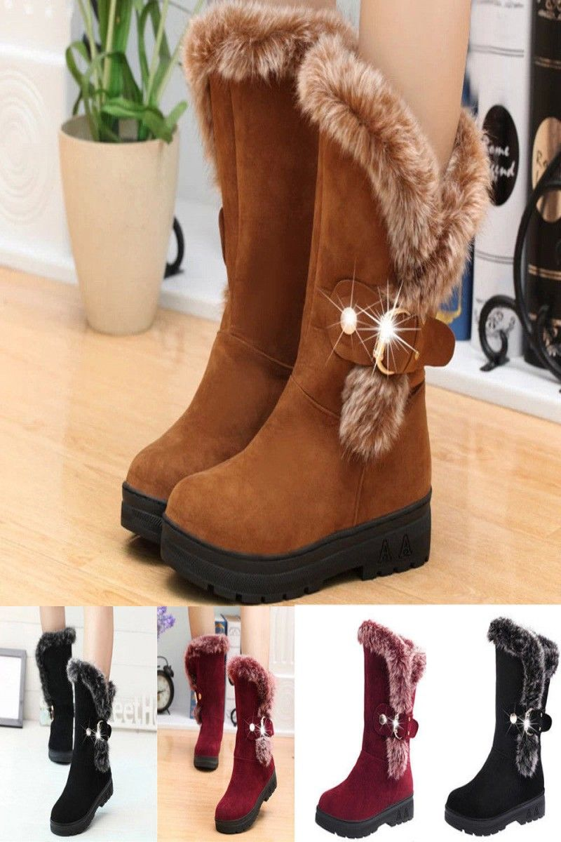 2434 Fashion Women Boots Slip On Soft Snow Boots Round Toe Flat
