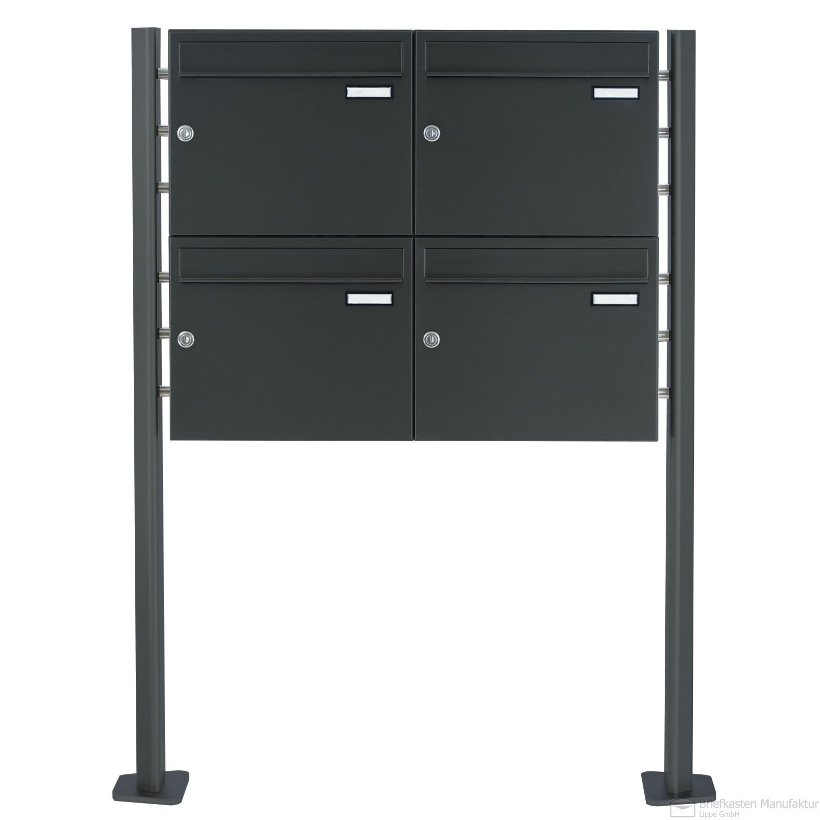 4er Standbriefkasten - Anthrazit-Grau RAL 7016 - PREMIUM-ELEGANCE - Standelemente, massiv aus Aluminium-Profil