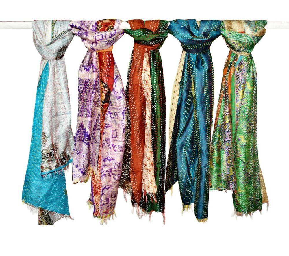 Indian Silk Sari Tie-Dye Scarf Wraps Dupatta Women Fashion Scarves Shawl Lot 5pc