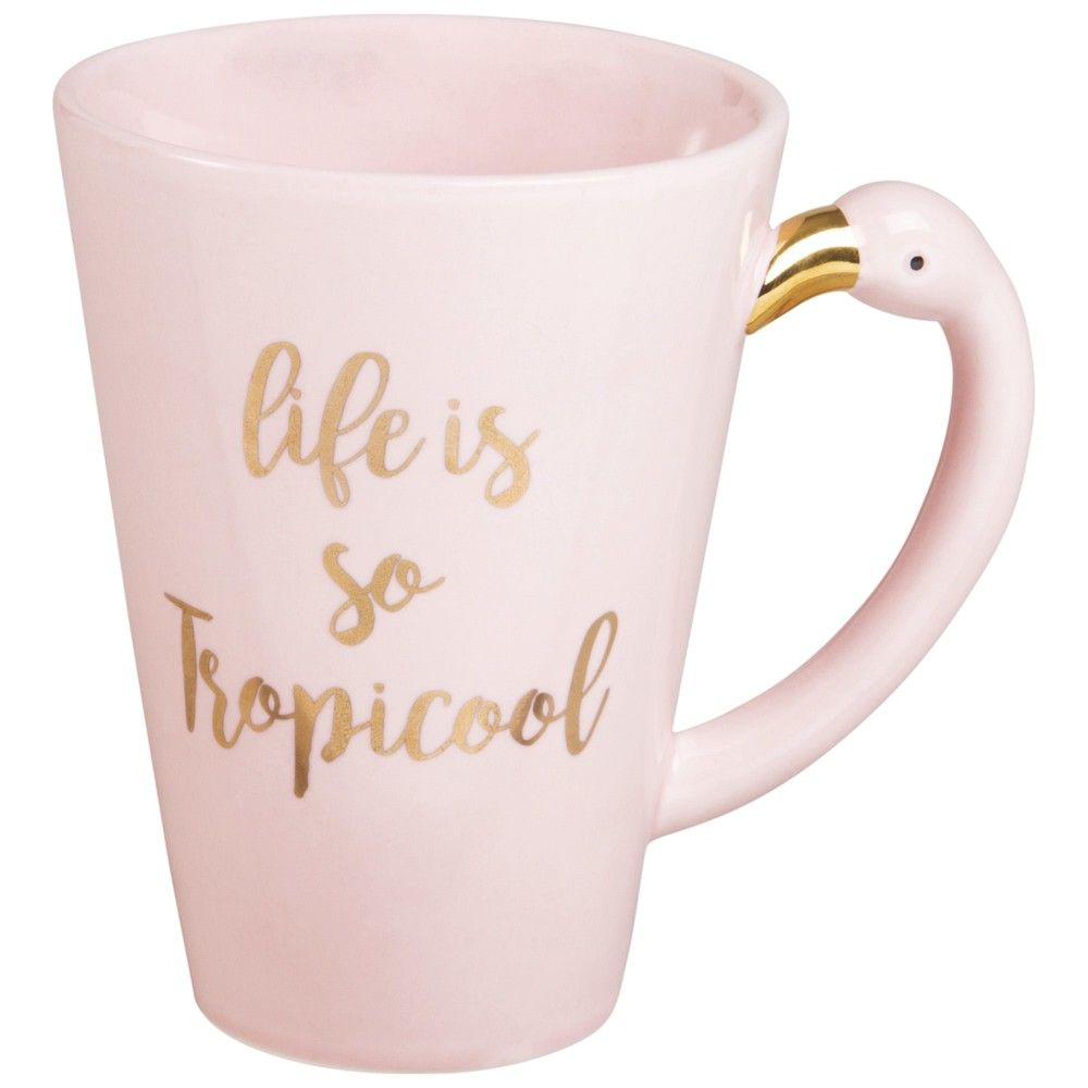 Sass /& Belle Ziggy Flamingo Mug Cup Pink White Chevron Cute Handle Hot Trend