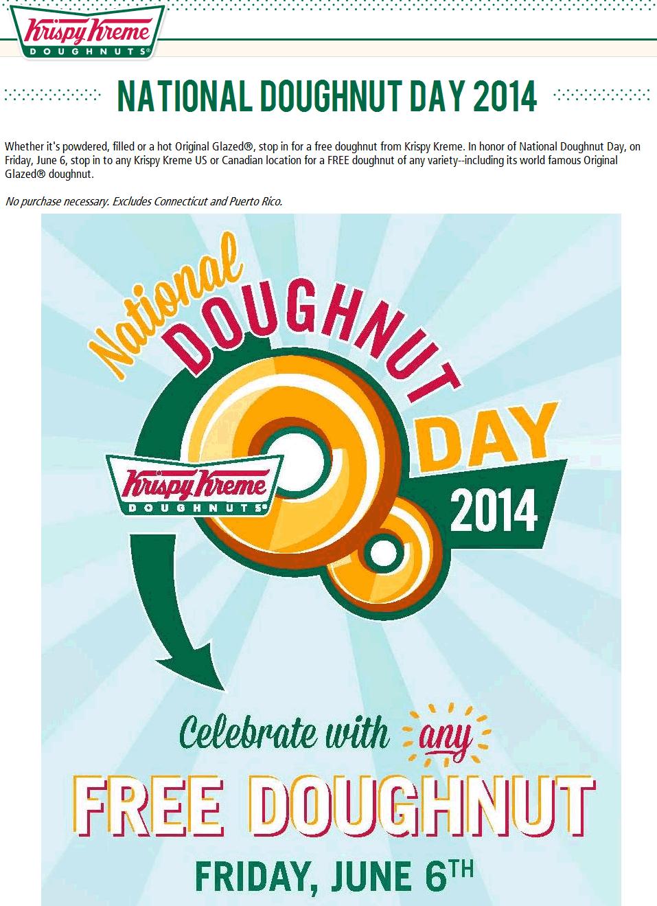 Pinned May 30th Free doughnut the 6th at KrispyKreme, no