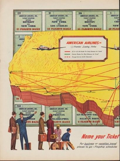 Description 1952 AMERICAN AIRLINES Vintage Print Advertisement Name Your Ticket Choose Flight For Business And Vacation