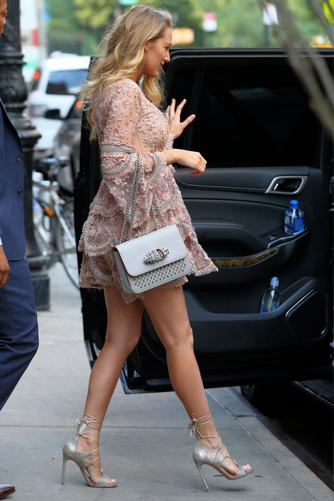 """3f80e3ac378 Blake Lively was spotted at the """"Today"""" show wearing Stuart Weitzman  strappy metallic sandals."""