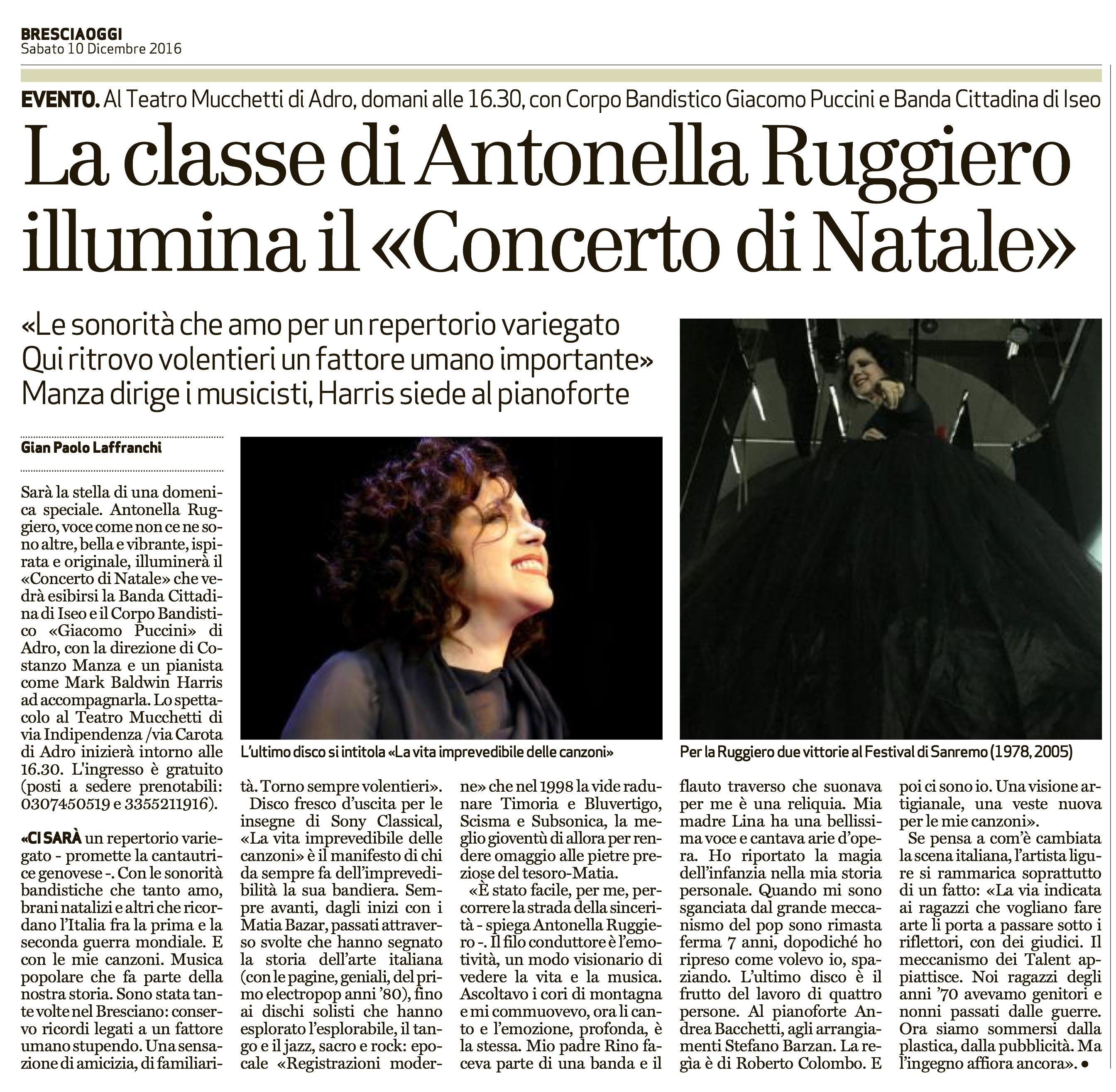 10 dicembre 2016 - In vista del concerto di Adro (BS), una breve intervista di Gian Paolo Laffranchi pubblicata su BresciaOggi