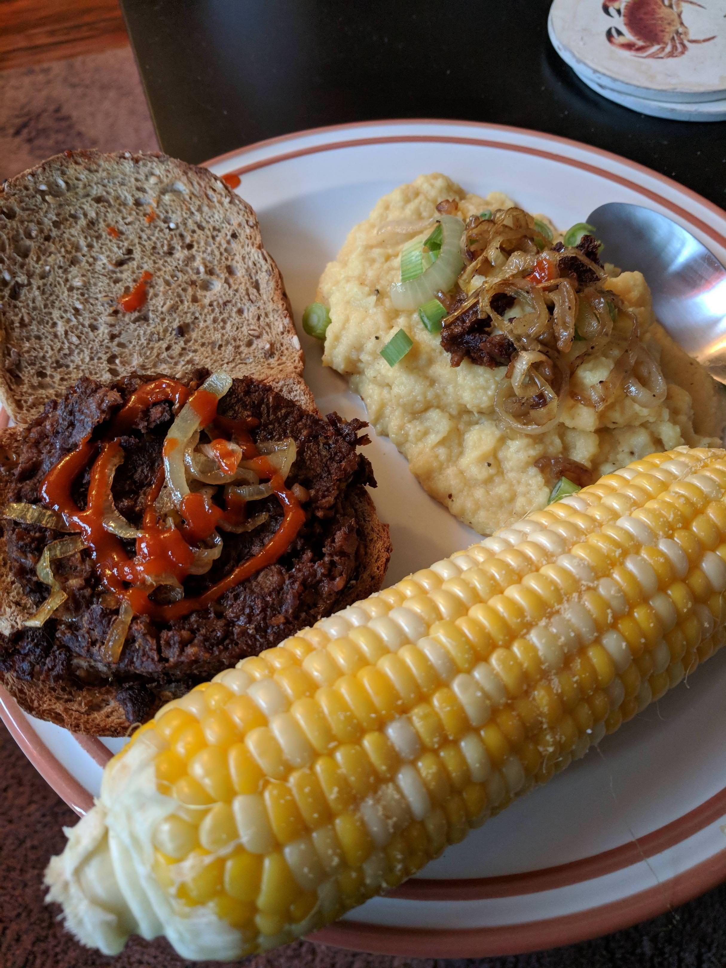 Boca burger mashed cauli corn and caramelized onions 460