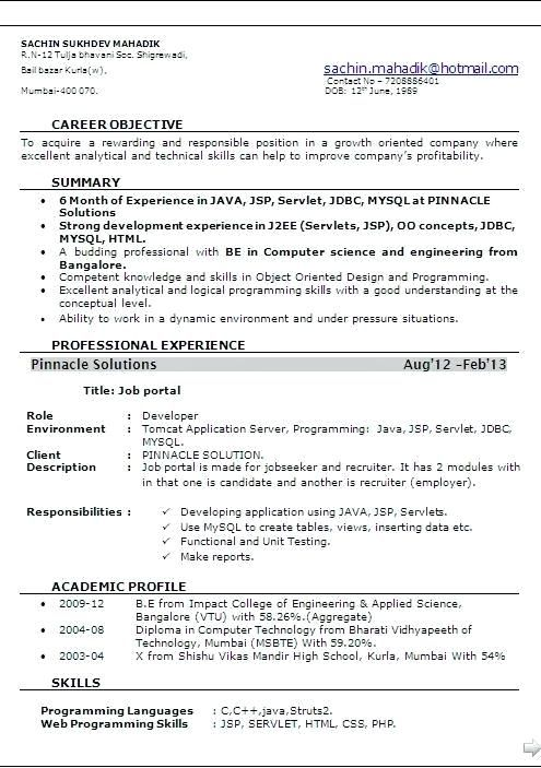Resume Format For 6 Months Experienced Software Engineer 2 Resume