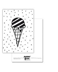 Kaart A6 Ice cream #quefem #quefemwebshop #paperfuel #