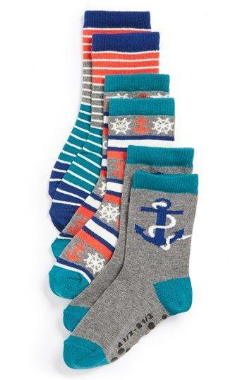 Nordstrom 'Anchors Aweigh' Crew Socks (3-Pack) (Toddler & Little Kid)