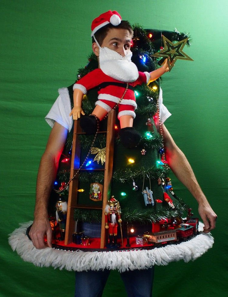 ugly christmas sweater diy tipping the ladder