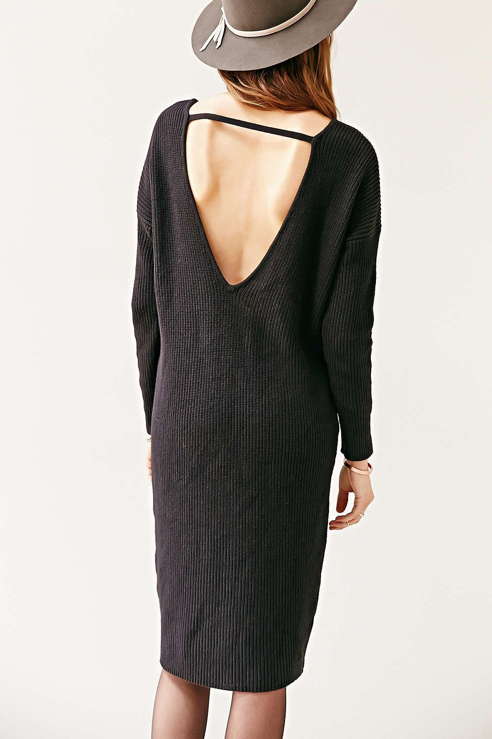 af8e2e49868 Silence + Noise V-Back Sweater Midi Dress - Urban Outfitters