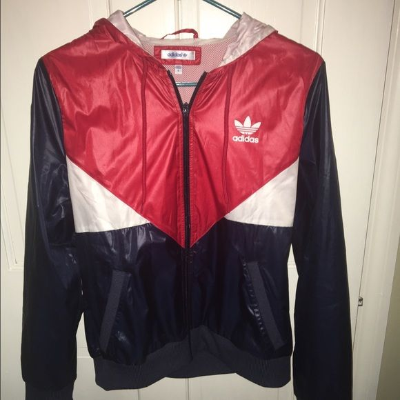 Adidas Red White And Blue Windbreaker Red Adidas