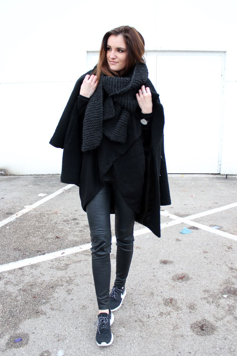 7f687afe49f worry about it later  ootd  nike roshe runs ootd leather pants self-knitted  scarf diy knit minimal outfit all black