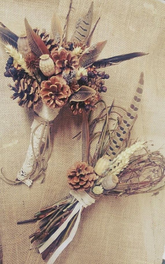 Wild Feather Bouquet, Sweet Heart Bouquet, Pinecone Bouquet,  Rustic Wedding Bouquet, Pheasant Feather Bouquet by CuriousFair on Etsy https://www.etsy.com/listing/197939000/wild-feather-bouquet-sweet-heart-bouquet
