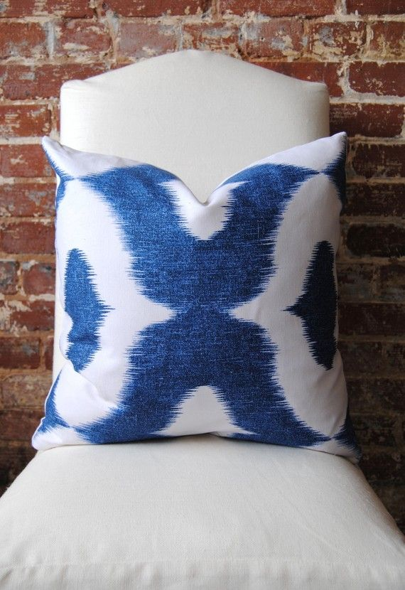 Decorator Fabric  Ikat print in Blue  Dalesford by by MarthaAndAsh, $42.00
