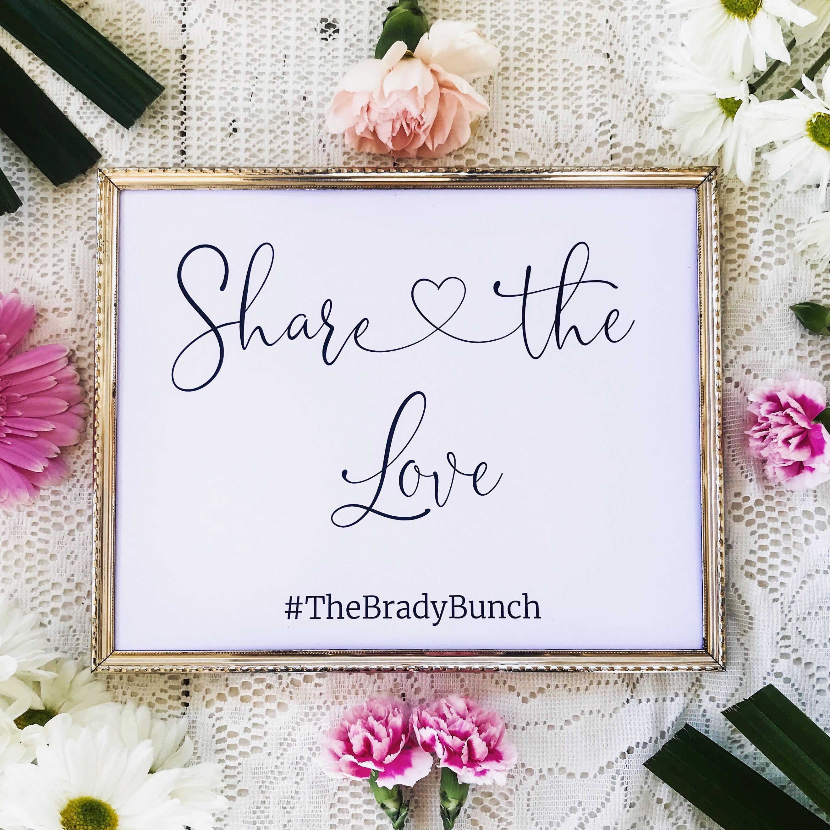 "Wedding Hairstyle Hashtags: ""Sophia"" Minimalist Share The Love Hashtag Wedding Table"
