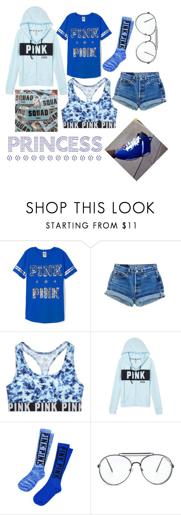 """""""Blue"""" by lovetayla ❤ liked on Polyvore featuring Victoria's Secret PINK and Victoria's Secret"""