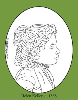 Helen Keller Clip Art Coloring Page Or Mini Poster Clip Art Pictures Clip Art Black And White Lines