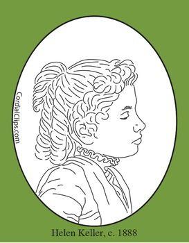 Helen Keller Clip Art Coloring Page Or Mini Poster Clip Art