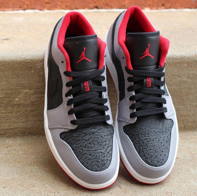 Air Jordan 1 Low | Black, Gym Red & Cement Grey