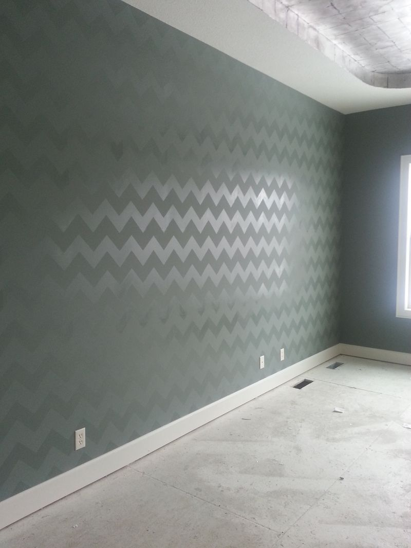 Base Paint The Walls In A High Gloss Base Color First Then We Would Still Use The Chevron Stencil With Flat Paint In The Same Color Home Home Diy Home Decor