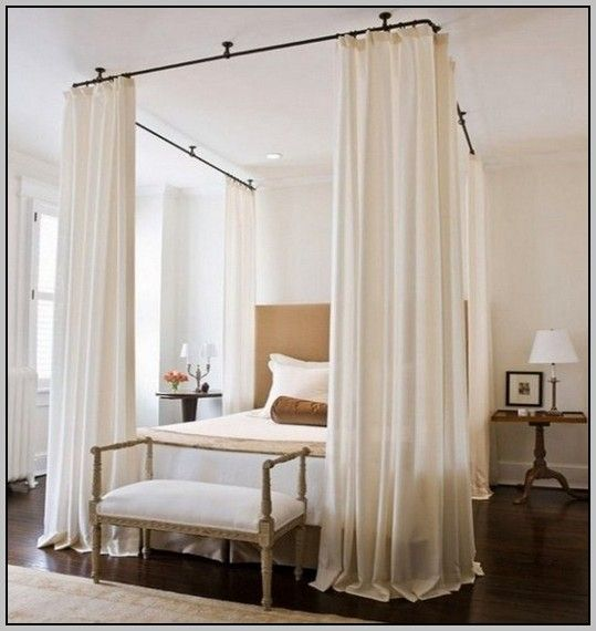 Ceiling Canopy Bed Curtains | Curtain Rods Hang From The Ceiling To Simulate A Canopy Bed & Ceiling Canopy Bed Curtains | Curtain Rods Hang From The Ceiling ...
